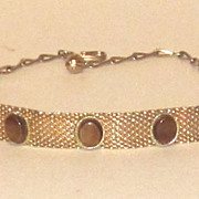 Vintage Gold Tone Mesh Choker Necklace