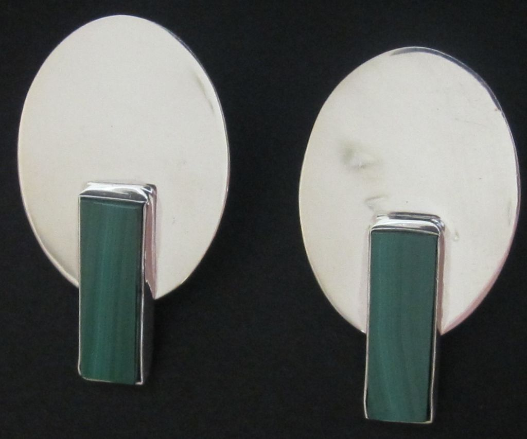 Vintage Signed Modernist Sterling Silver, Malachite Earrings