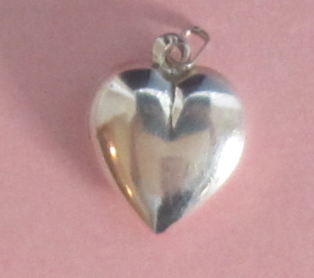 Puffy Heart, Sterling Silver Vintage Charm/Pendant