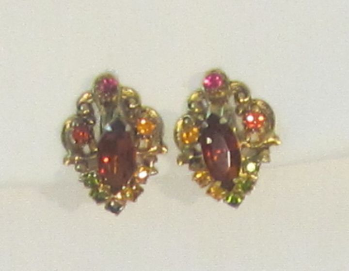 Sparkling Vintage Gold Tone Glass Stone Earrings