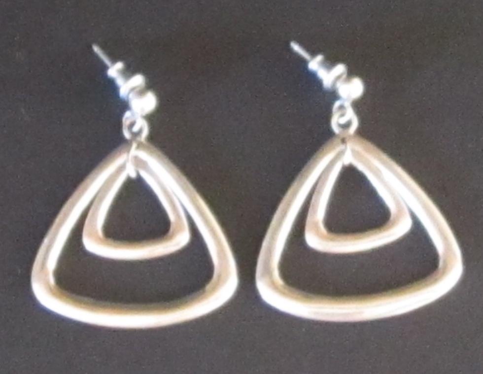 Vintage Sterling Silver Triangle Pierced Earrings