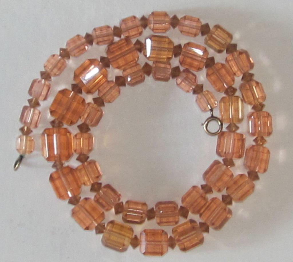 Vintage Czech Crystal Peach Necklace