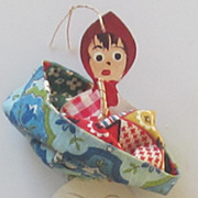 Vintage Little Red Riding Hood Wood Interchangeable Ornament