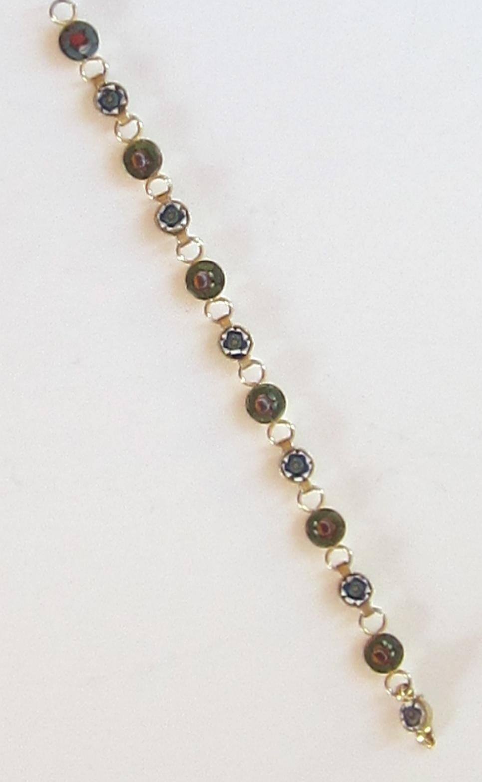 Lovely Vintage Micro Mosaic Gold Tone Bracelet