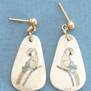 Vintage Parrot Bone Scrimshaw 10K Pierced Earrings
