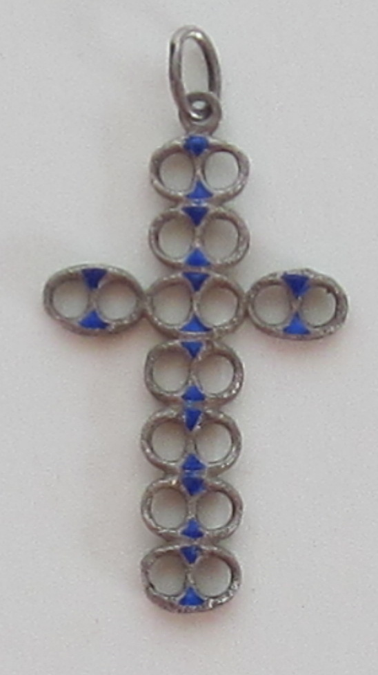 Magnificent 800 Silver Chunky Cross with Enamel