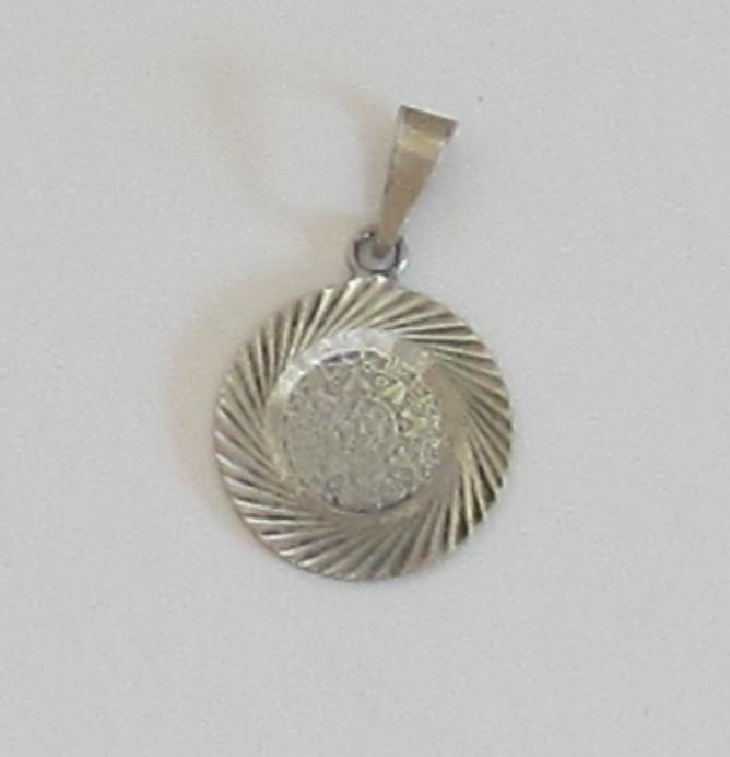 Vintage Sterling Silver Disk Pendant