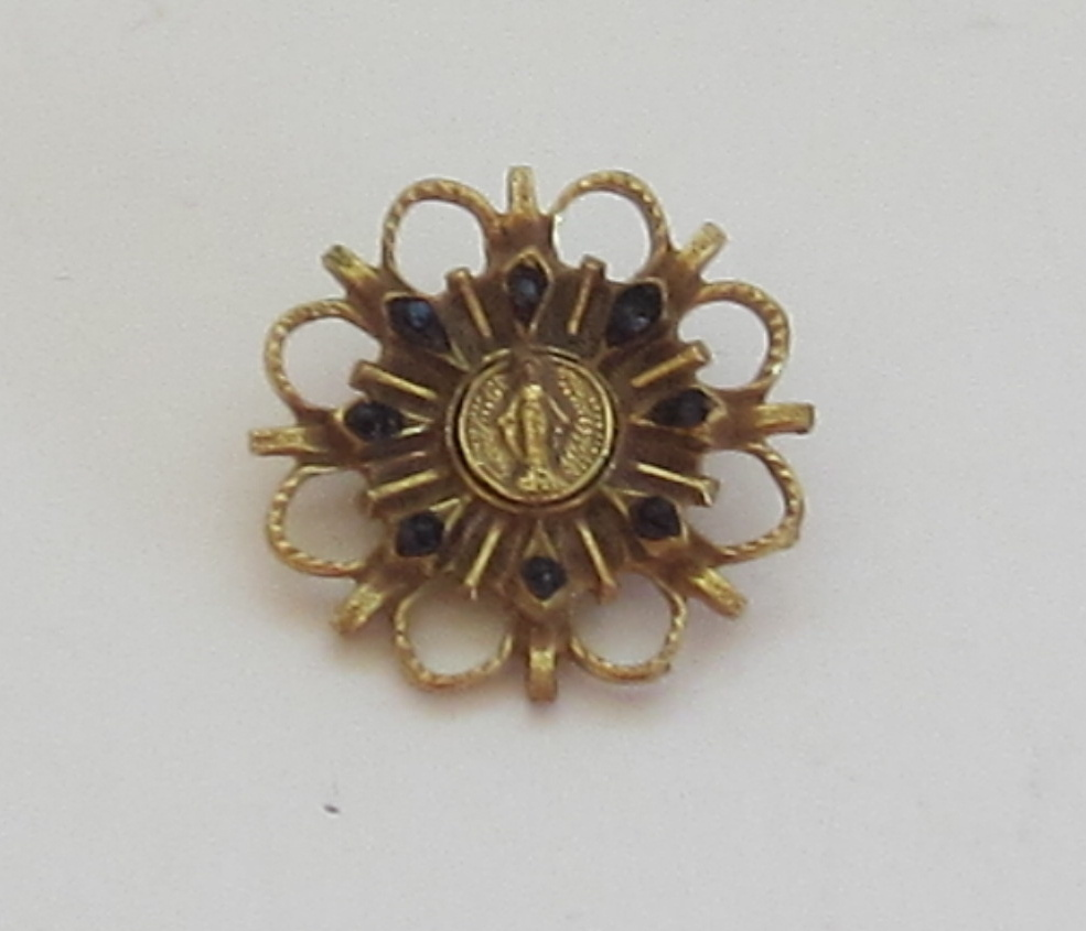 Religious Gold Tone Brooch/Pin