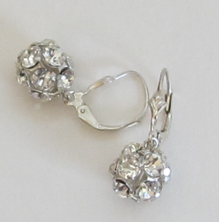 Vintage Sterling Silver Rhinestone Ball Pierced Earrings