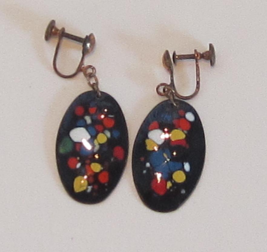Vintage Enameled Earrings