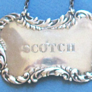 Vintage Sterling Silver SCOTCH Liquor Tag