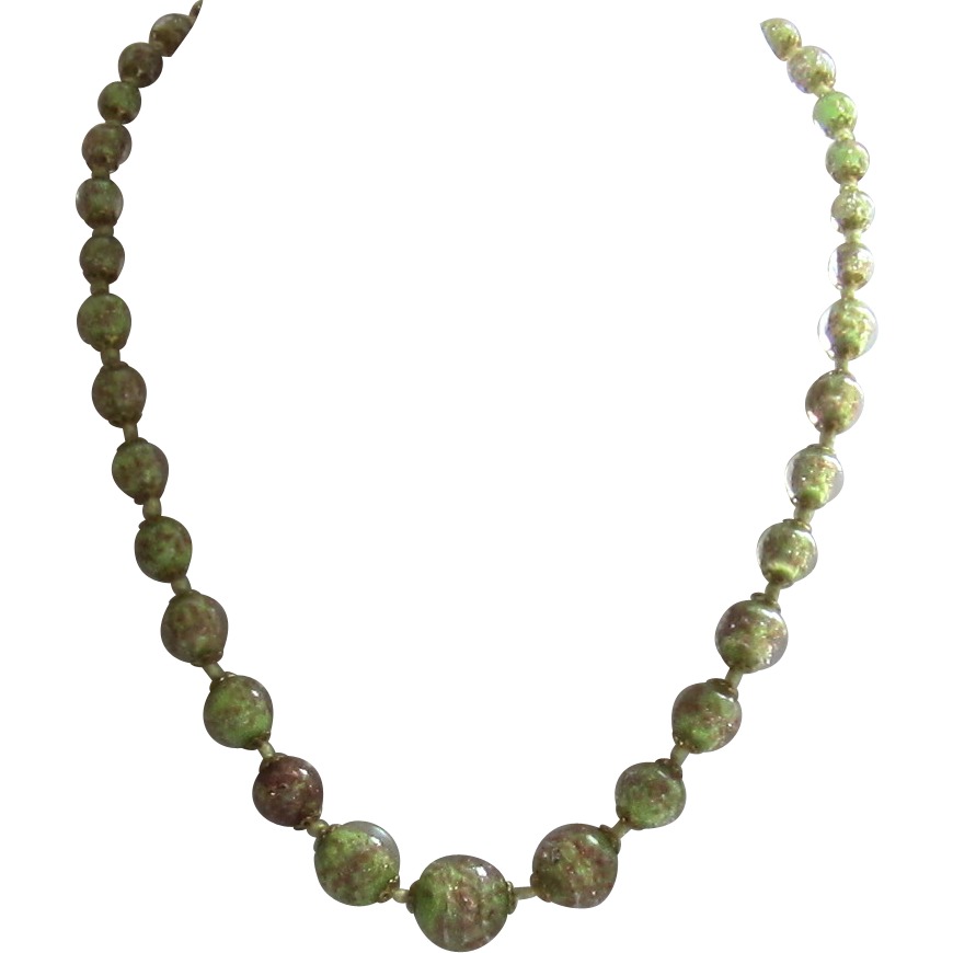Lovely Speckled Glass Bead Necklace