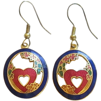 Cloisonne  Oval Earrings