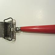 Vintage Red Bakelite Rolling Mincer Chopper Kitchen Utensil