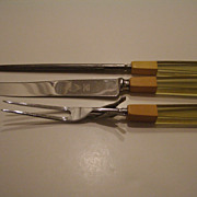 Vintage Bakelite Lucite 3 piece Carving Set Fork Knife Steel