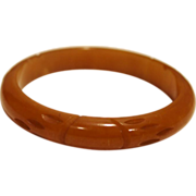 Butterscotch Bakelite Carved Bangle Bracelet