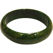 "Marbled Green Bakelite Bangle Bracelet 3/4"" Wide"