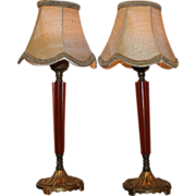 Pair Bakelite Table Lamps with Shades Rewired