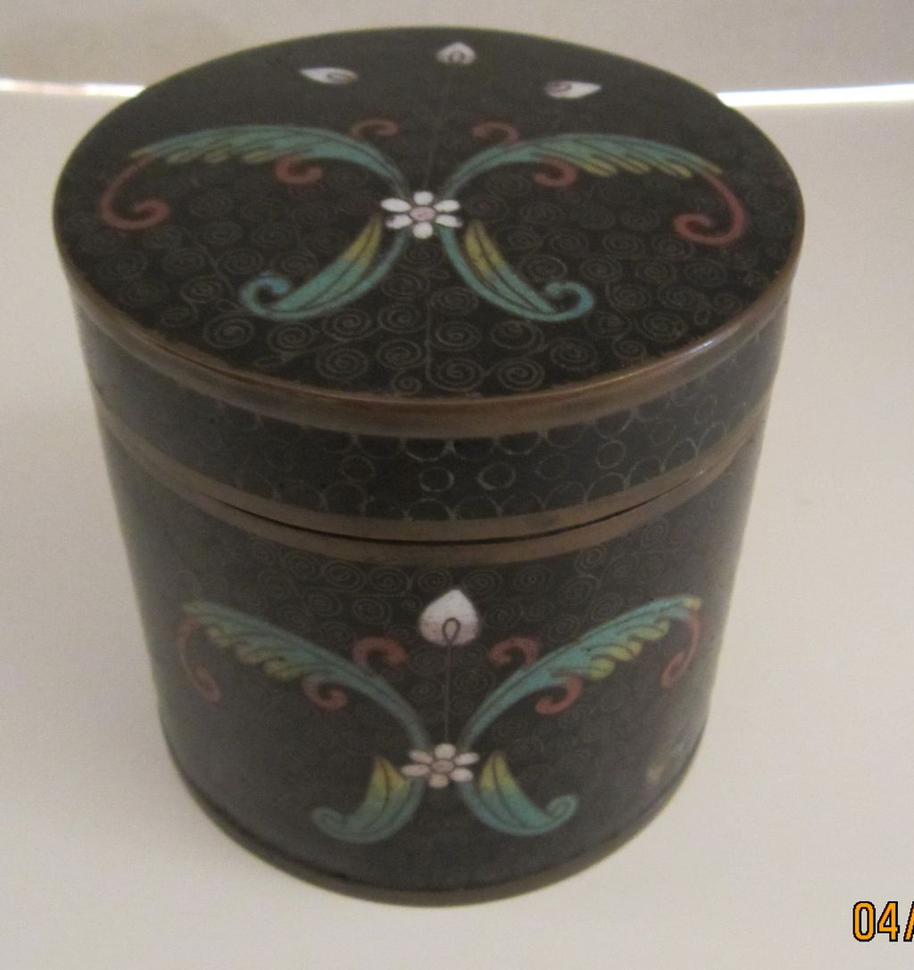 Round Black Enameled Tin with  Cloisonne