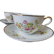Limoges France Porcelain Teacup set of 4 c 1920