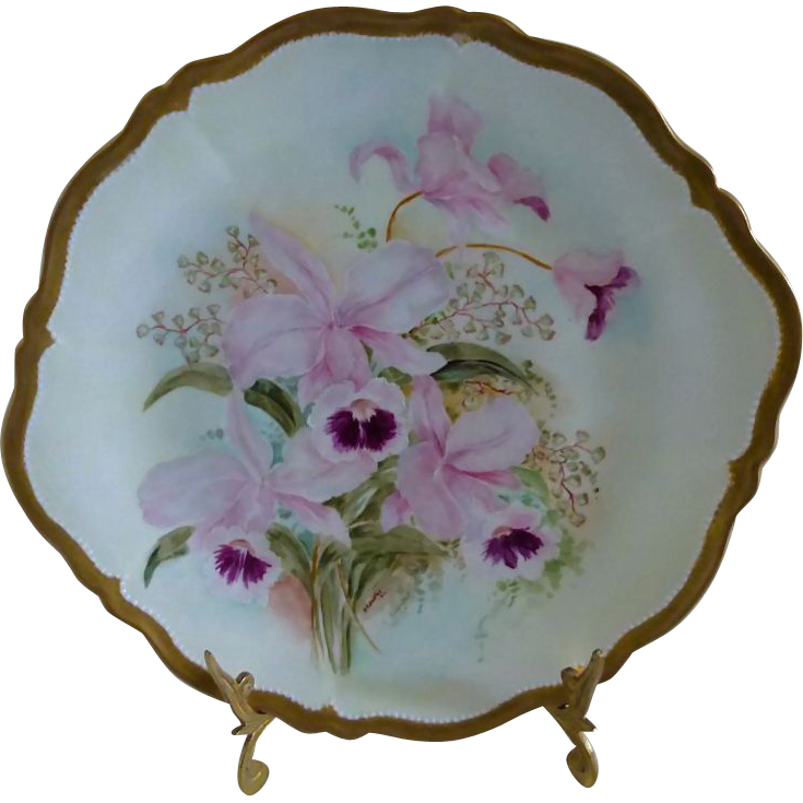 Royal Austria O&EG  Orchid Cake Plate Signed & dated  1910