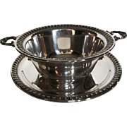 Vintage 1940s Silver Gravy Bowl and Plate by Wilcox Silver Co