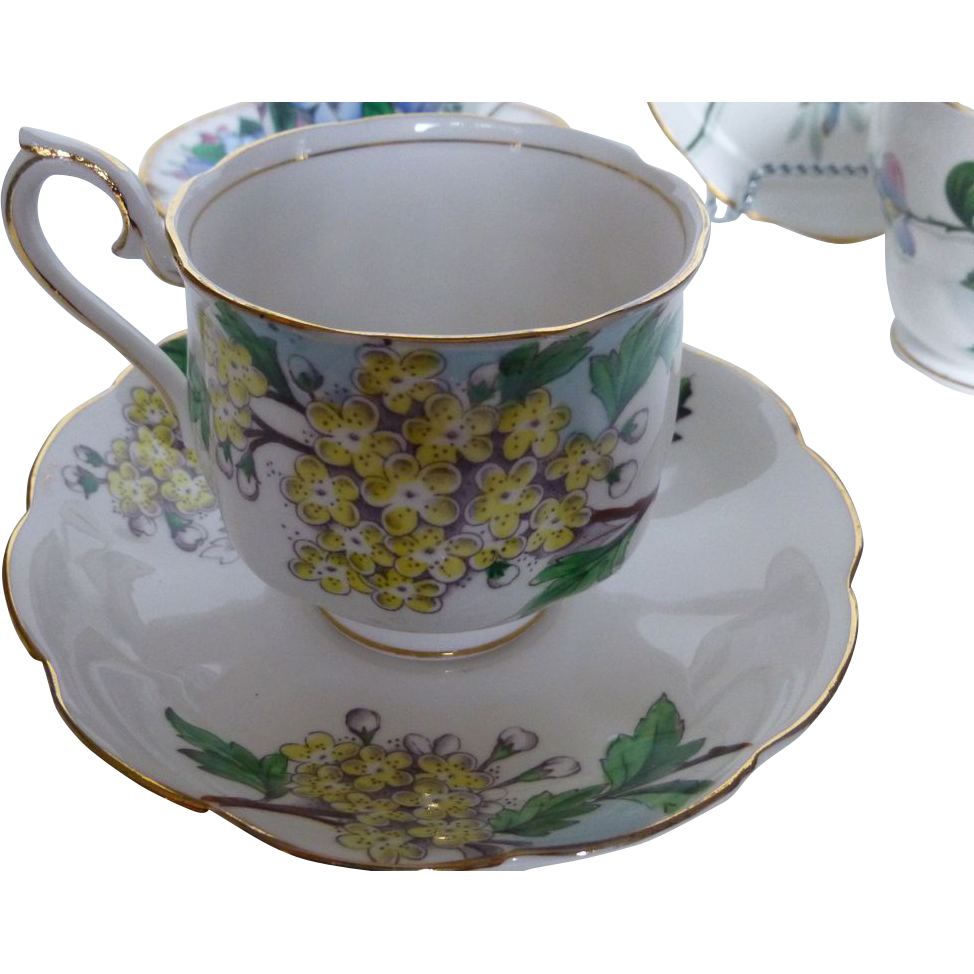 Royal Albert Hawthorne Tea set Flower of the Month c 1950s