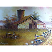 Vintage Everett Woodson Barn Scene Oil on Canvas