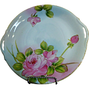 Nippon Hand Painted Roses Cake Plate