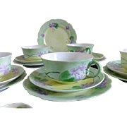 Antique Forget Me Not Tea Set Trio set of 4 by MZ Austria c 1908