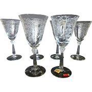 Fostoria Romance Water Goblet Glass set of 6 c 1942