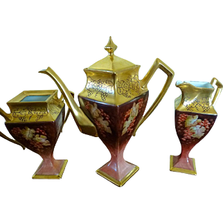 Limoges 3 piece Tea Set artist signed
