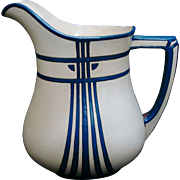 Large Mettlach Arts & Crafts Pitcher. German Secessionist Pottery