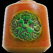 Mid Century Signed Italian Pottery Orange and Green Squat Vase