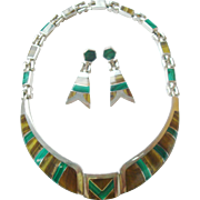 """Taxco 20"""" Sterling Inlaid Necklace & Earrings Set Green Malachite and Brown Onyx"""