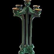 Large Art Nouveau Iron & Brass Candle Holder