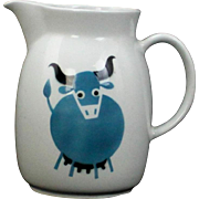 Large Blue Cow Bull Pitcher by Arabia of Finland