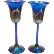 Signed Correia Wine Goblets Pair Pulled Feather Cobalt Blue Iridescent