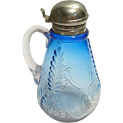 Medallion Sprig Syrup Pitcher. Cobalt to Clear West Virginia Glass Co.