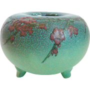 Elizabeth N. Lincoln Signed Mat Rookwood Pottery Footed Bowl Cherry Blossoms