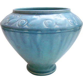 Rookwood Pottery Matte Blue Bowl Vase #2863  c1925
