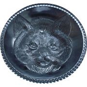 c1880 EAPG CAT PLATE Columbia Glass Co. Findlay, Ohio