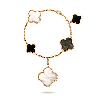 Van Cleef & Arpels Magic Alhambra 18k Gold 5 motifs Mother Of Pearl Onyx BRACELET