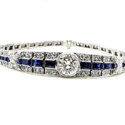 Authentic Art Deco 5.01ct Old European DIAMOND SAPPHIRE Line BRACELET, Circa 1930s