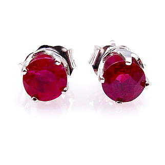 Estate Vintage 0.75ct Red RUBY Round 14k White Gold Stud Post Earrings