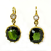 Victorian GIA UNHEATED 10.34ct GREEN Sapphire Old Mine Cushion Diamonds 18k Gold Drop Earrings