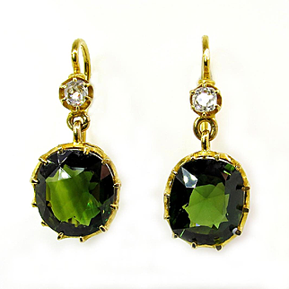 Victorian Natural GIA UNHEATED 10.34ct GREEN Sapphire and Old Mine Cushion Diamonds 18k Gold Drop Earrings
