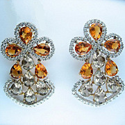 13.60ct  DIAMOND Yellow CITRINE Smoky TOPAZ Earrings Chandelier Clip Post in 18k White Gold