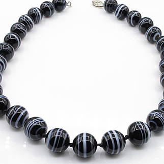 Vintage Banded Black & White Agate Single Strand Bead Necklace, Circa 1910