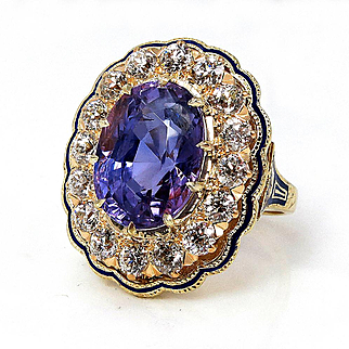 An exquisite 10.24ctw Ceylon GIA UNHEATED Natural Purple Sapphire and Diamond Enamel 14k Gold Cluster Vintage Ring